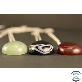 Lot de 5 pendentifs en pierres semi précieuses - Gouttes/30 mm - Multicolore