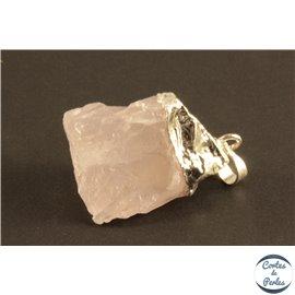 Lot de 5 pendentifs en quartz rose - Pépites/27 mm