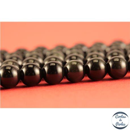 Perles semi précieuses en obsidienne - Rondes/6 mm - Noir