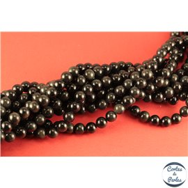 Perles semi précieuses en obsidienne- Rondes/8 mm