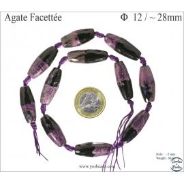 Perles semi précieuses en agate - Tubes/12 mm - Violet
