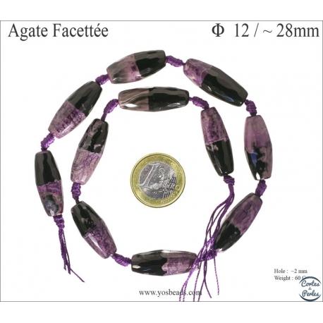 Perles semi précieuses en Agate - Tube/12 mm - Violet