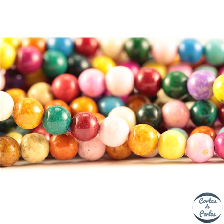 Perles semi précieuses en pierre de fossile - Rondes/6 mm - Multicolore