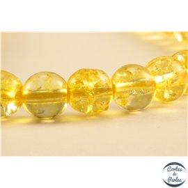 Perles semi précieuses en cristal crack - Rondes/6 mm - Jaune