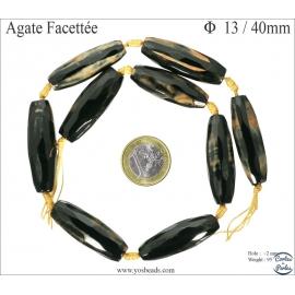 Perles semi précieuses en agate - Tubes/13 mm - Noir