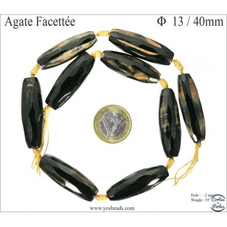 Perles semi précieuses en Agate - Tube/13 mm - Noir
