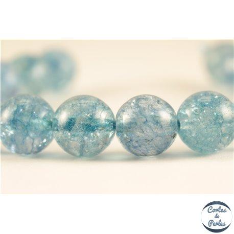 Perles semi précieuses en cristal crack - Rondes/10 mm - Aquamarine
