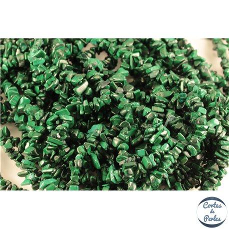 Perles semi précieuses en malachite - Pépites/5 mm - Vert émeraude