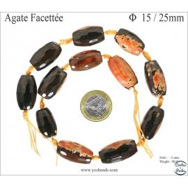 Perles semi précieuses en agate - Tubes/15 mm - Flamme