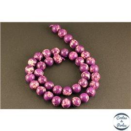 Perles semi précieuses en jaspe - Rondes/10 mm - Violet