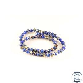 Perles semi précieuses en jaspe - Rondes/6 mm - Bleu
