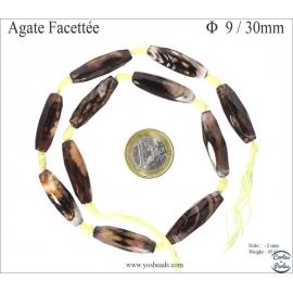 Perles semi précieuses en Agate - Tube/9 mm - Colorado