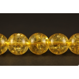 Perles en cristal crack jaune - Rondes/8mm