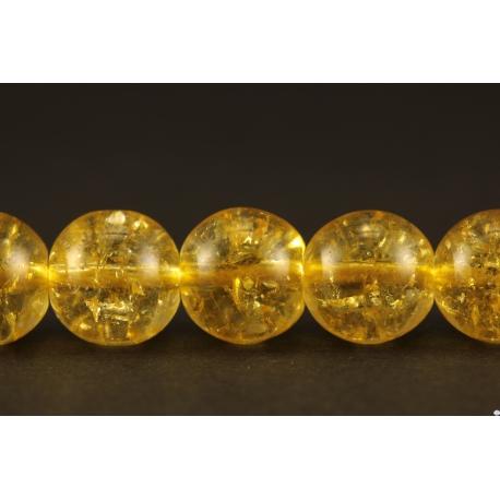 Perles semi précieuses en cristal crack - Rondes/8 mm - Jaune