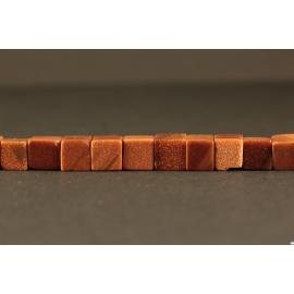 Semi Précieuses Pierres en Sable d'Or - Cube/6 mm - Orange Pailleté