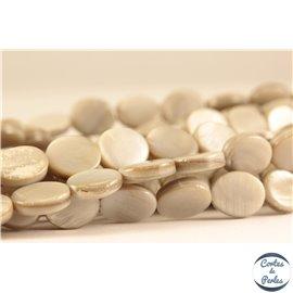 Perles en nacre - Ovales/10 mm - Gris