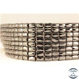 Perles semi précieuses en hématite - Tubes/8 mm - Noir