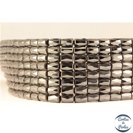 Perles semi précieuses en Hématite - Tube/8 mm - Noir