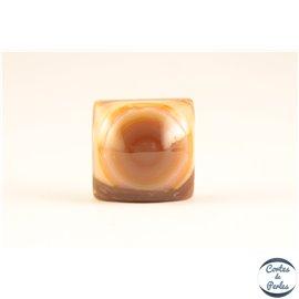 Perles semi précieuses en onyx orange - Carré/16 mm
