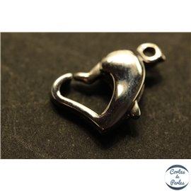 Fermoirs mousqueton coeur - 10 mm - Argenté