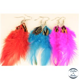 Boucles d'oreilles plumes - 12 cm - Multicolore