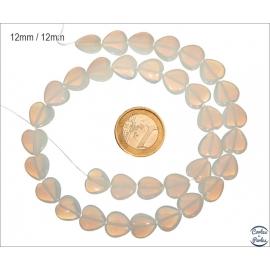 Perles en verre lisses - Coeurs/12 mm - Pierre de Lune