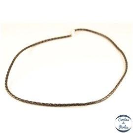 Collier cuir tressé - 3 mm - Noir