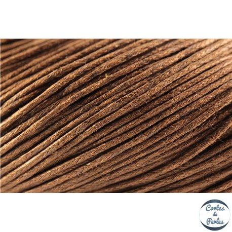 Cordon de coton ciré - 1 mm - Marron