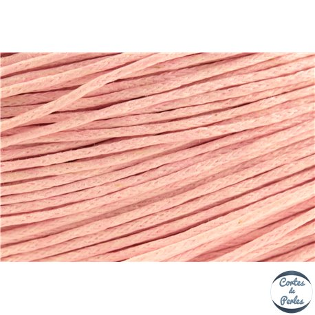 Cordon de coton ciré - 1 mm - Rose