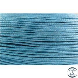 Cordon de coton ciré - 1 mm - Bleu