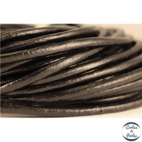 Cordon cuir - 3 mm - Noir