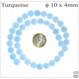 Perles facettées en verre - Disques/10 mm - Turquoise