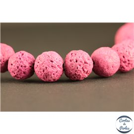 Perles de Lave - Ronde/10 mm - Rose