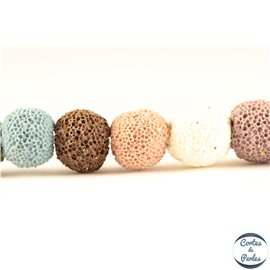 Perles de Lave - Ronde/10 mm - Multicolore