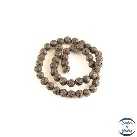 Perles de Lave - Ronde/8 mm - Noir