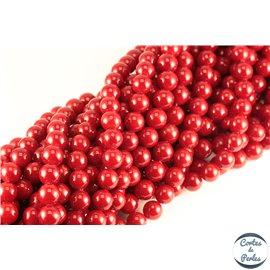 Perles de Majorque - Ronde/ Ø 10 mm - Rouge - Grade A