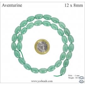 Perles semi précieuses en aventurine - Olives/12 mm - Vert