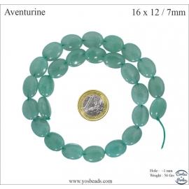 Perles semi précieuses en aventurine - Ovales/16 mm - Vert
