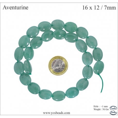 Perles semi précieuses en Aventurine - Ovale/16 mm - Vert
