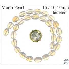 Perles facettées en verre - Ovales/15 mm - Pierre de Lune
