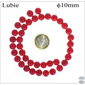 Perles en verre lisses - Rondes/10 mm - Crimson