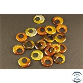 Lot de 5 Pendentifs en Agate - Cercles/20 mm - Feu