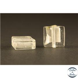 Perles en verre - Carrées/12 mm - Blanches