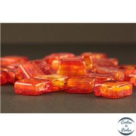 Perles en verre - Carrées/12 mm - Rouge orangé