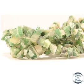 Perles semi précieuses en jade - Pépites/4 mm - Vert Sapin