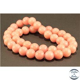Perles semi précieuses en marbre - Rondes/10 mm - Rose pâle