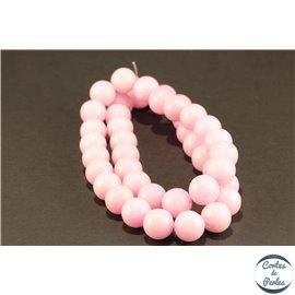 Perles semi précieuses en marbre - Rondes/10 mm - Rose flamant