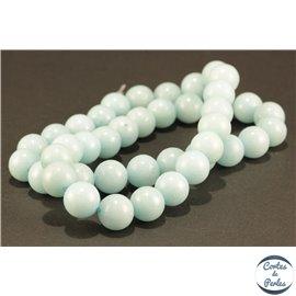 Perles semi précieuses en marbre - Rondes/10 mm - Turquoise clair