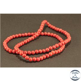 Perles semi précieuses en jade mashan - Rondes/4 mm - Fire Brick