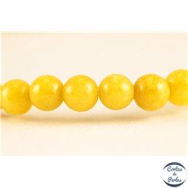 Perles semi précieuses en jade mashan - Rondes/4 mm - Jaune Canari
